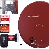 DUR-line MDA 80 R + +Ultra Quad LNB - 4 TN LNB Set Ziegelrot