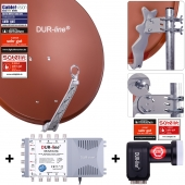 DUR-line Select 75/80 R + MS5/8 + LNB - 8 Teilnehmer Set rot