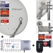 DUR-line Select 75/80 G + MS5/16 + +Ultra Quattro LNB - 16 Teilnehmer Set hellgrau