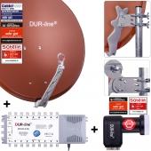 DUR-line Select 75/80 R + MS5/16 + +Ultra Quattro LNB - 16 Teilnehmer Set rot